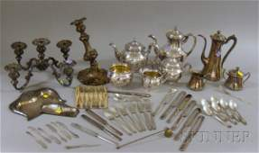 90: Two Silver Plated Tea Sets, a Convertible Candelabr