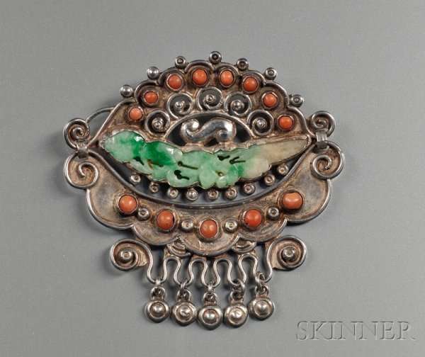 169: Vintage Mexican Sterling Silver, Coral, and Jade B