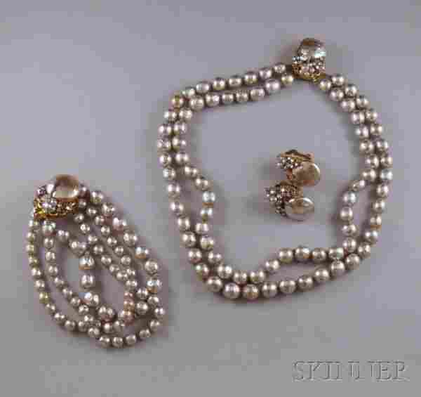 226: Vintage Miriam Haskell Faux Pearl and Paste Suite,