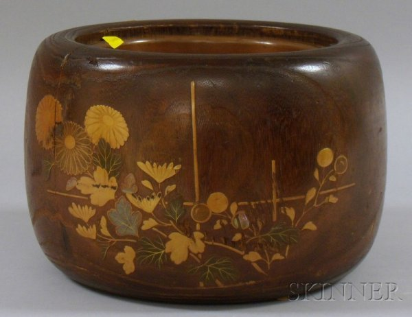 501: Japanese Circular Hardwood Planter with Lacquer Fl