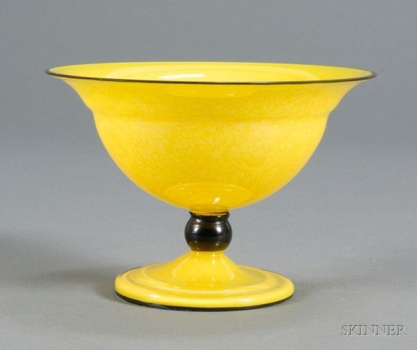 502: Czech Cased Iridescent Yellow Glass Footed Bowl, u