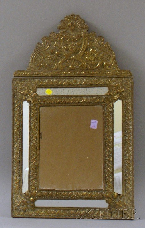 504: Baroque-style Repousse Brass-mounted Wooden Mirror