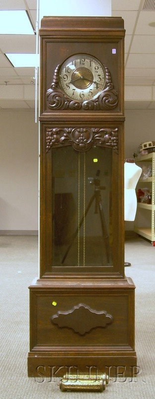512: Victorian Oak Tall Clock, Germany, with applied ca