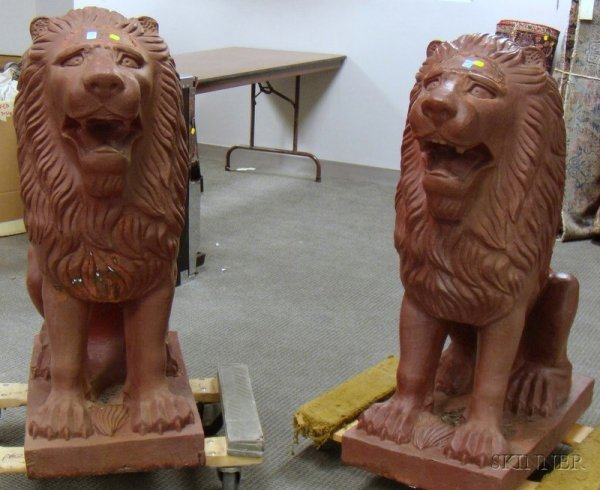 515: Pair of Cast Iron Seated Lion Garden Ornaments, ht
