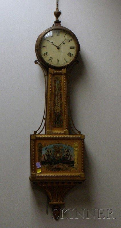 "516: Mahogany Patent Timepiece or ""Banjo"" Clock, signed"