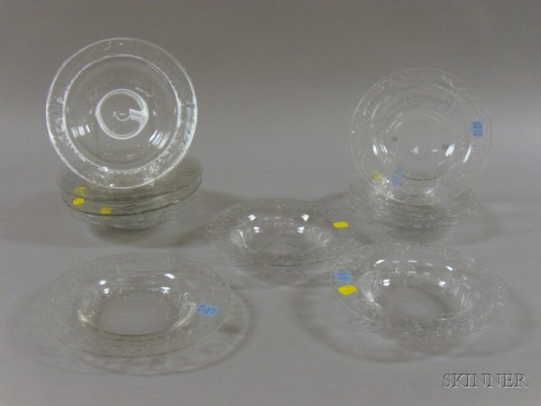 519: Set of Twelve Colorless Wheel-cut Glass Soup Bowls