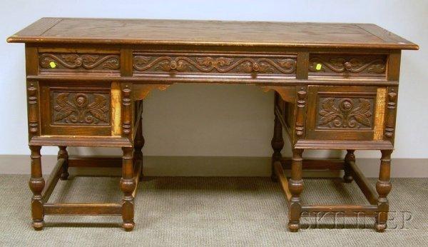 521: Jacobean-style Carved Oak Flat-top Desk, ht. 30 1/