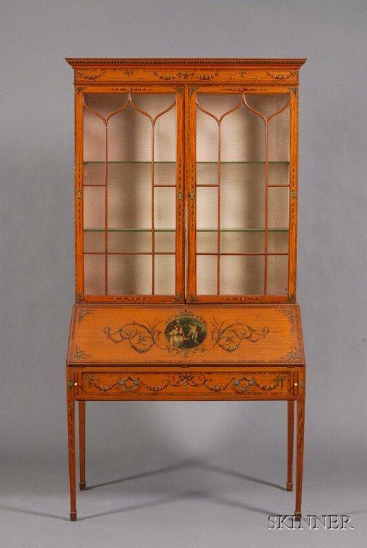 1085: Edwardian Painted Satinwood Bureau/Bookcase, earl