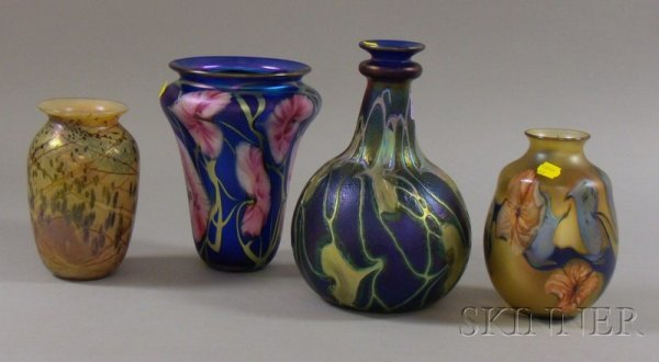 1184: Three Charles Lotton Art Glass Vases and a Dick S