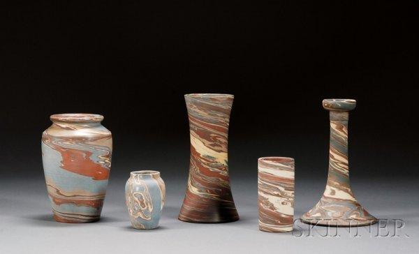 1: Five Niloak Pottery Vases Multicolored clay Benton,