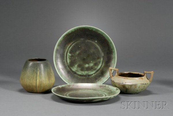 7: Two Shearwater Plates; Fulper Bowl and Weller Vase A