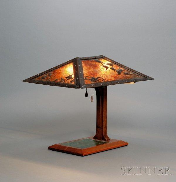 10: Arts & Crafts Style Lamp Copper, mica, oak, tile, a