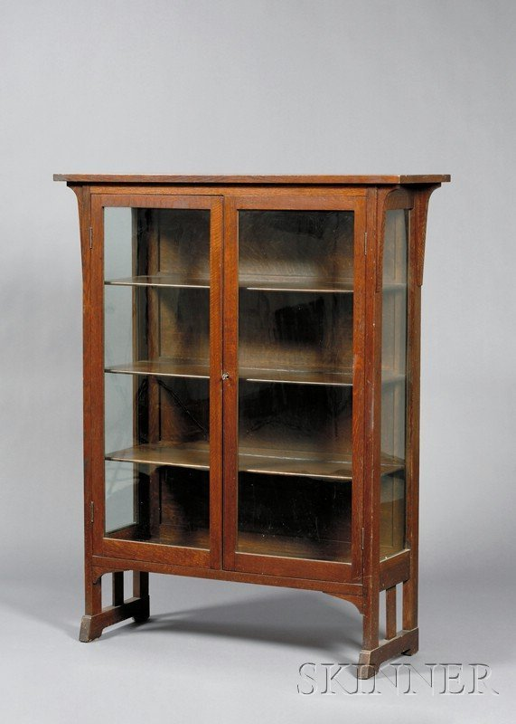 12: Get info Arts & Crafts China Closet Oak c. 1907 Rec