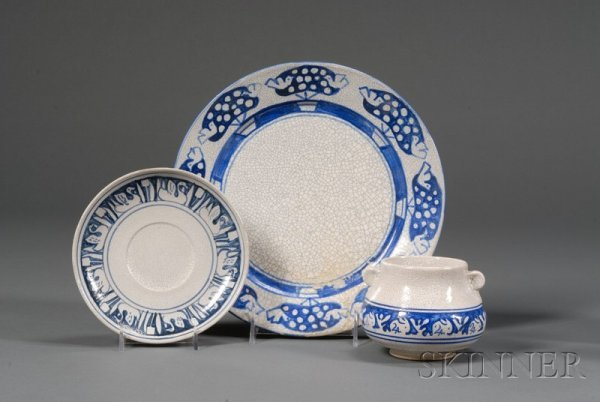13: Three Pieces of Dedham Pottery Dinnerware Dedham, M