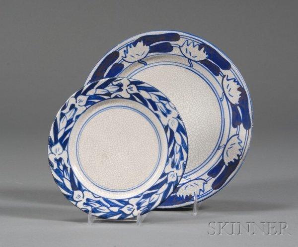 18: Two Dedham Pottery Plates Dedham, Massachusetts Iri