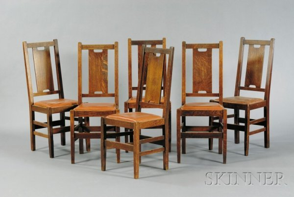 19: Six Arts & Crafts Dining Chairs Oak and upholstery