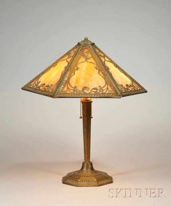 22A: Metal Overlay Table Lamp Patinated metal and slag