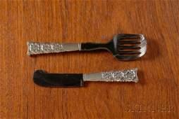 221: Georg Jensen Dahlia Caviar Knife and Server Sterli