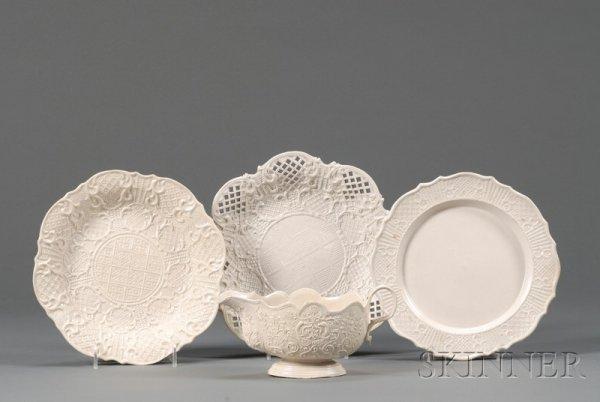 1: Four Staffordshire White Saltglazed Stoneware Items,