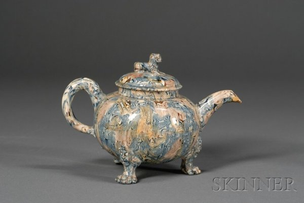 5: Staffordshire Lead Glazed Solid Agate Teapot and Cov