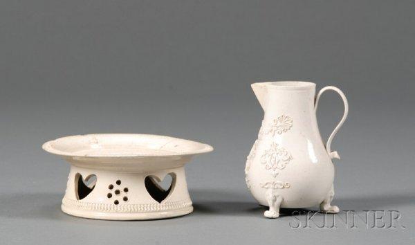 12: Two Staffordshire White Saltglazed Stoneware Items,