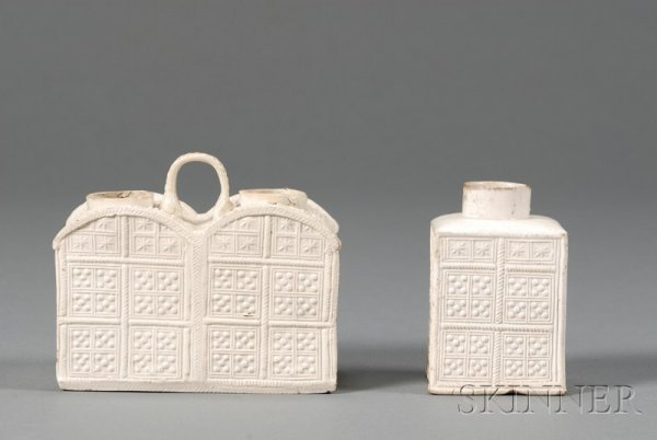 13: Two Staffordshire White Saltglazed Stoneware Tea Ca