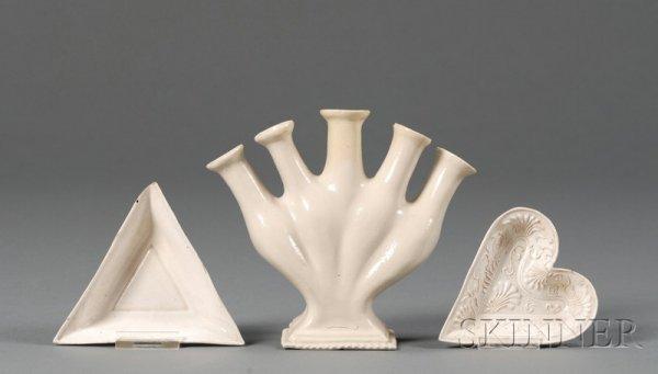 14: Three Staffordshire White Saltglazed Stoneware Item