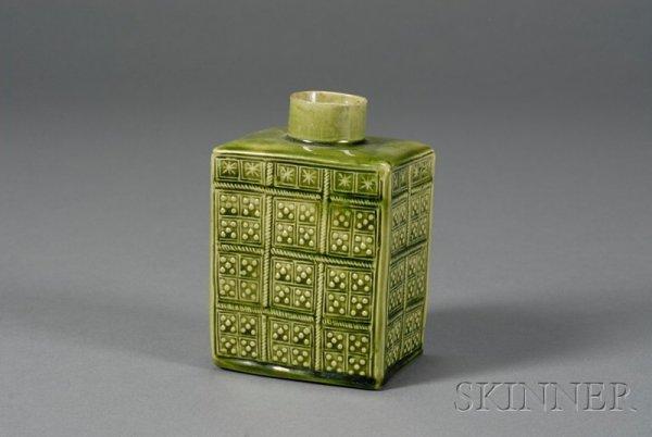 17: Staffordshire Green Glazed Tea Canister, England, m