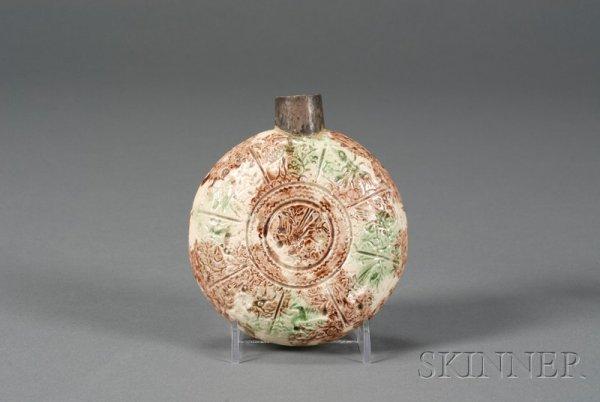 18: Staffordshire Lead Glazed Creamware Flask, England,