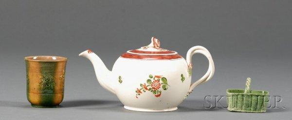 19: Three Lead Glazed Creamware Items, England, 18th ce