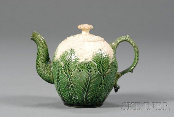 21: Staffordshire Lead Glazed Cauliflower Teapot and Co