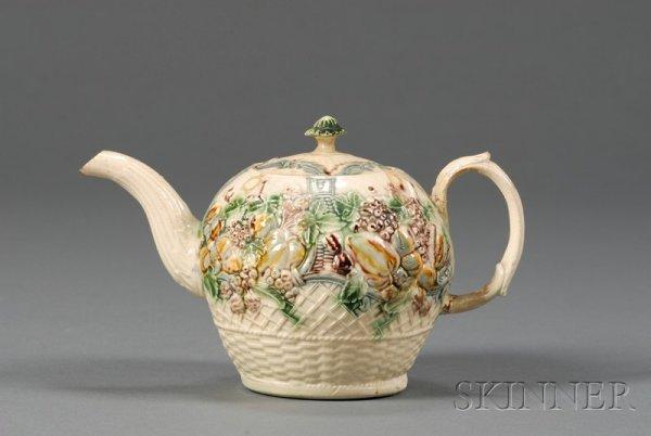 23: Staffordshire Lead Glaze Creamware Teapot and Cover