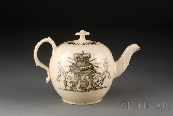 24: Staffordshire Creamware Queen Charlotte Teapot and