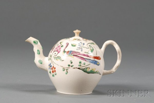 164: Staffordshire White Saltglazed Stoneware Teapot an