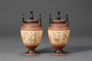 229: Pair of Wedgwood Encaustic Terra Cotta Vases and C