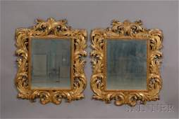 566 Pair of Large Continental Baroquestyle Giltwood M