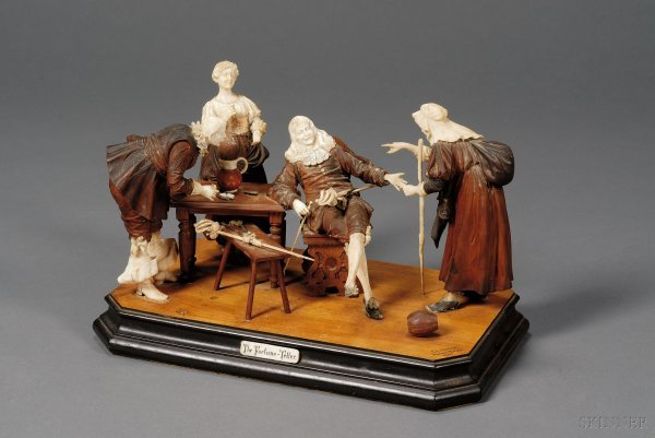 """578: German Carved Fruitwood and Ivory Figure Group ,""""T"""
