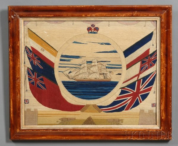 1: Wool-work Picture of a British Sailing Ship, on a bl