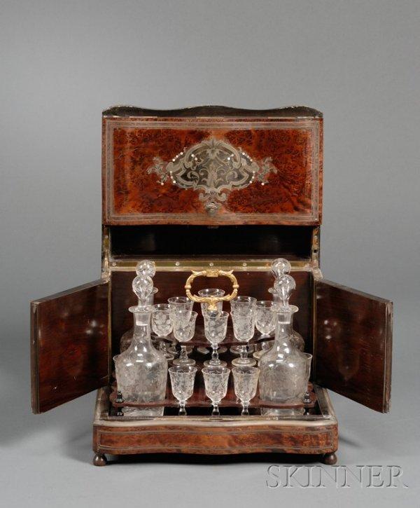 3: Burl Walnut Cordial Cabinet, the serpentine-front ca