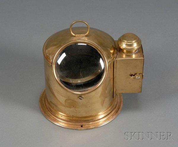 9: Brass Binnacle Helmet Compass by Henry Browne & Son,