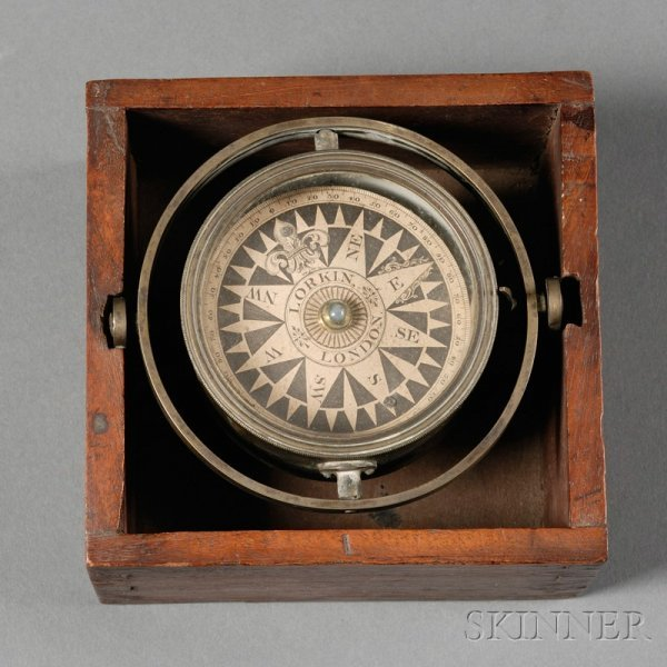 14: Gimballed Box Compass by Lorkin, London, with brass