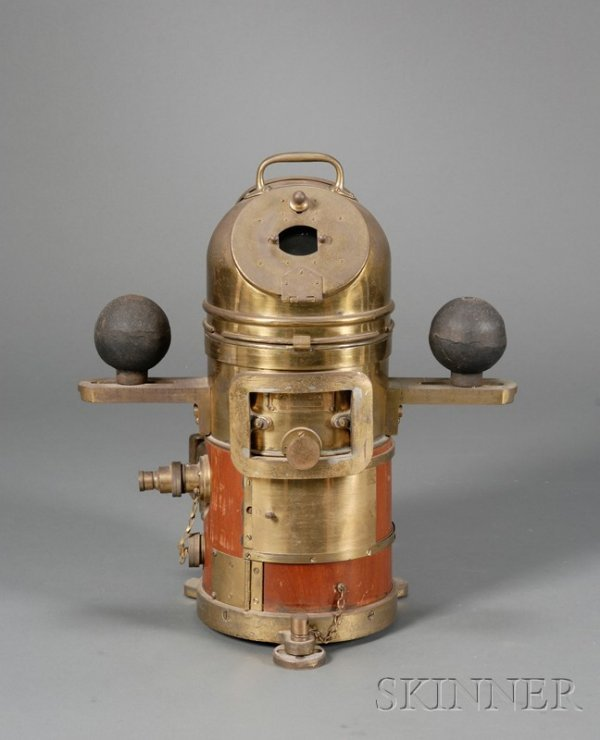 15: Brass Binnacle Compass, with liquid compass within