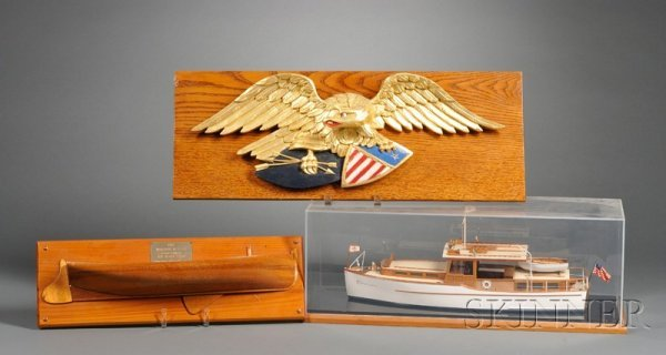 19: Carved Eagle, Wooden Yacht, and Half Hull Models, A
