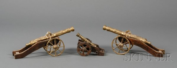 20: Three Replica Brass Miniature Cannons, including a