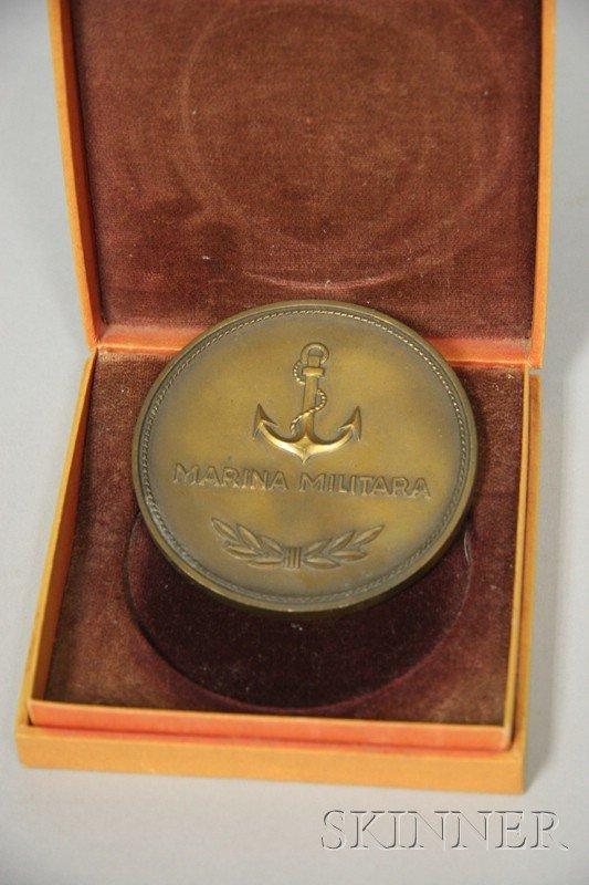 22: Romanian Bronze Naval Medal, 3 in. dia. cast bronze