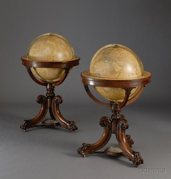 325: Magnificent Pair of 18-inch Newton Library Globes,