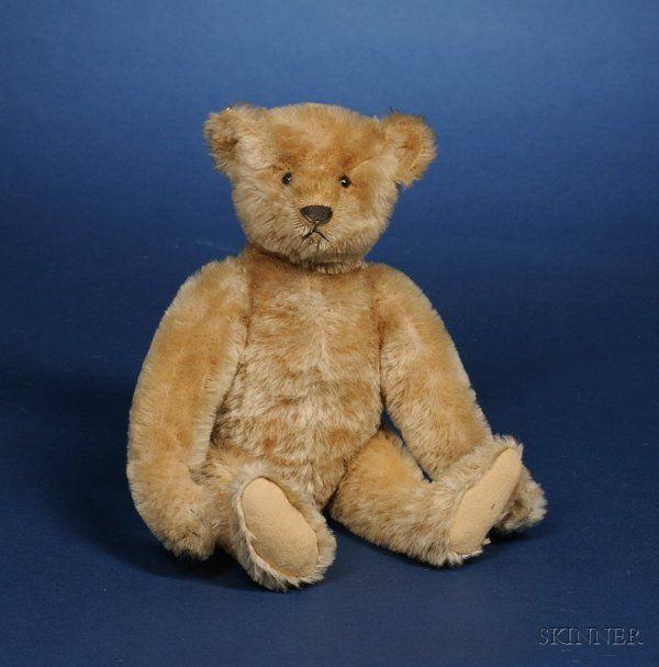 604: Small Steiff Blonde Mohair Teddy Bear, c. 1905, wi