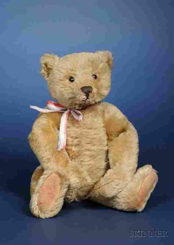 606: Steiff Blonde Mohair Teddy Bear, c. 1905, with bla