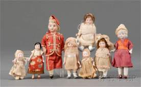 649: Eight Small Bisque Dolls with Painted Eyes, late 1