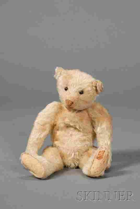 713: Small Early Steiff Blonde Mohair Teddy Bear, with